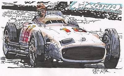 Mercedes Automobile Drawing - Juan Fangio Mercedes Benz German Grand Prix by Paul Guyer