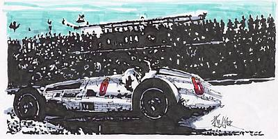 Mercedes Automobile Drawing - Juan Fangio Mercedes Benz Grand Prix Of Argentina by Paul Guyer