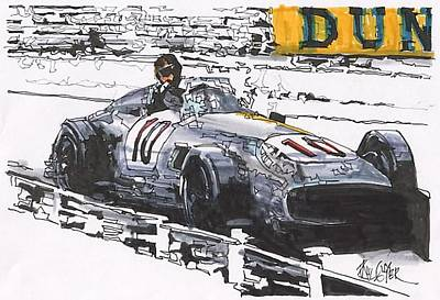 Mercedes Automobile Drawing - Juan Fangio Mercedes Benz Grand Prix Of Germany by Paul Guyer