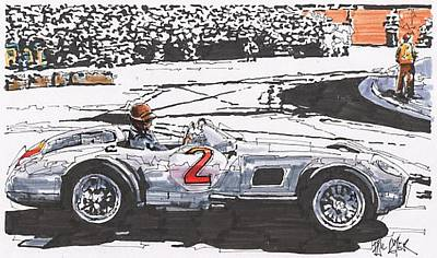 Mercedes Automobile Drawing - Juan Fangio Mercedes Benz by Paul Guyer