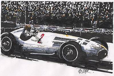 Mercedes Automobile Drawing - Juan Fangio Mercedes Grand Prix Of Argentina by Paul Guyer