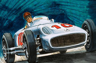 Car Drawing - Juan Manuel Fangio Driving A Mercedes-benz by English School