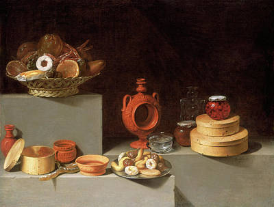 Pottery Painting - Juan Van Der Hamen Y León, Still Life With Sweets by Litz Collection