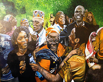 Jubilation Series- Pres Obama's Grandmothers Village Art Print by Michael Mahue Moore