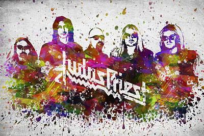 Band Digital Art - Judas Priest In Color by Aged Pixel