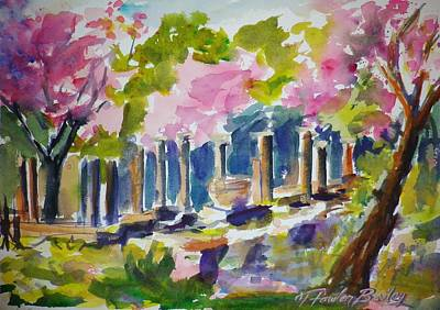 Judas Trees In Bloom At Olympia Ruins Original by Therese Fowler-Bailey