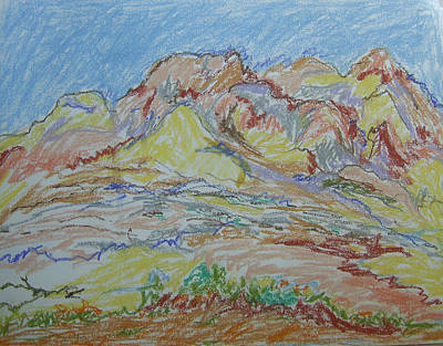 Drawing - Judean Hill Landscape by Esther Newman-Cohen
