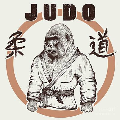 Judoka Gorilla Dressed In Kimono. Hand Art Print