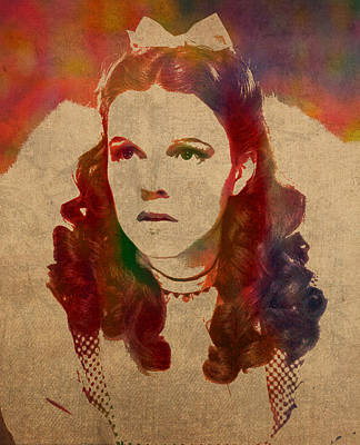 Fantasy Mixed Media - Judy Garland As Dorothy Gale In Wizard Of Oz Watercolor Portrait On Worn Distressed Canvas by Design Turnpike