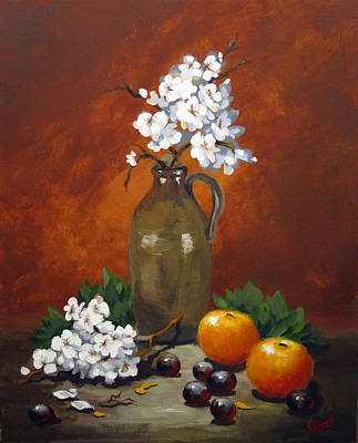 Painting - Jug And Blossoms by Carol Hart