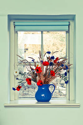 Red Farmhouse Photograph - Jug Of Flowers by Tom Gowanlock