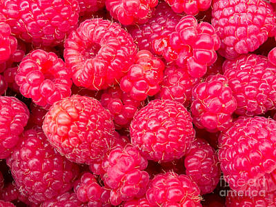 Sultry Plants - Juicy ripe raspberries background texture pattern by Stephan Pietzko