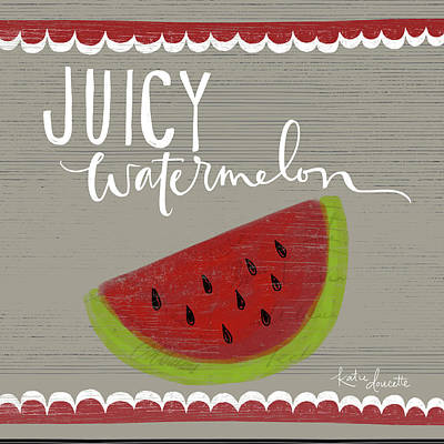 Watermelon Painting - Juicy Watermelon by Katie Doucette