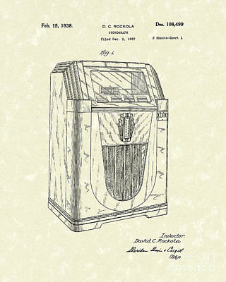 Phonograph Drawing - Jukebox 1938 Patent Art  by Prior Art Design