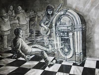 Jukebox Painting - Jukebox Hero by Maria Elena Gonzalez