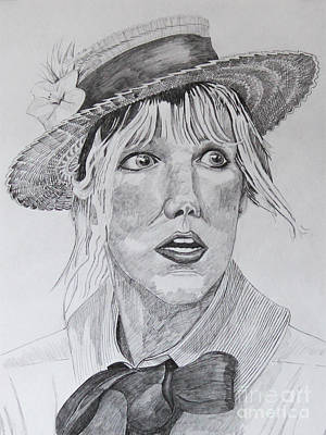 Straw Hat Drawing - Jul Portrait by Robert Yaeger