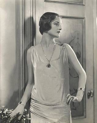 Wood Necklace Photograph - Jule Andre Wearing A Vionnet Dress by Edward Steichen