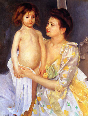 Youngster Digital Art - Jules Being Dried By His Mother by Marry Cassatt