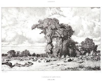 Jules Dupré French, 1811 - 1889. Pastureland Art Print by Litz Collection
