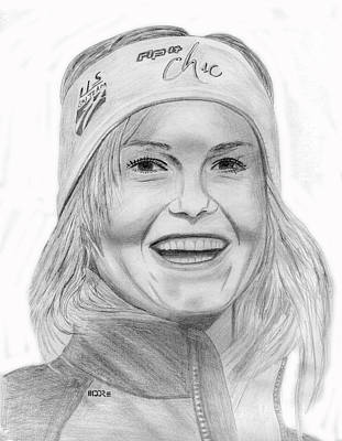 Drawing - Julia Mancuso by Pat Moore