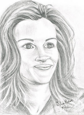 Art Print featuring the drawing Julia Roberts by Teresa White