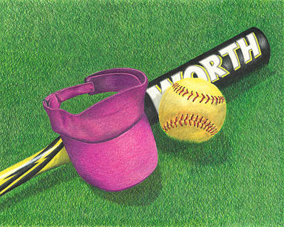 Softball Drawing - Julia's Game by Troy Levesque