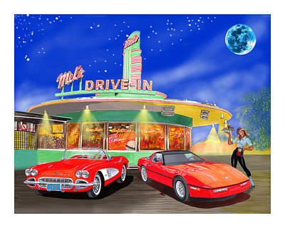 1950s Movies Painting - Julies Corvettes by Jack Pumphrey