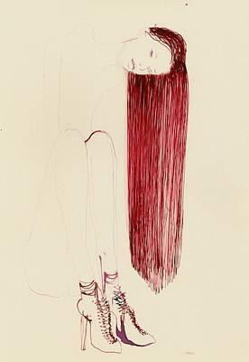 High Heels Art Drawing - Juliette by B J Stehlin