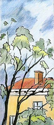 Drawing - July Across The Street by Lelia Sorokina