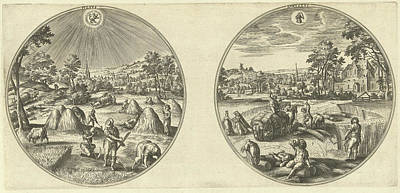 Nature Scene Drawing - July And August, Adriaen Collaert, Hans Bol by Adriaen Collaert And Hans Bol And Hans Van Luyck