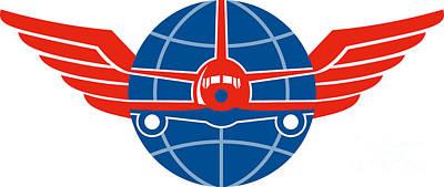 Jumbo Jet Plane Front Wings Globe Art Print by Aloysius Patrimonio