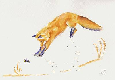 Fox Painting - Jump by Debra Hall