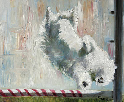 Dog Painting - Jump by Mary Sparrow