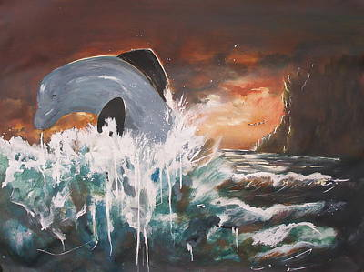 Dolphine Painting - Jumping Dolphin by Miroslaw  Chelchowski