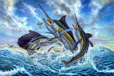 Sailfish Painting - Jumping Grand Slam And Flyingfish by Terry  Fox