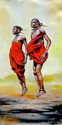 Painting - Jumping Maasai by Joseph Thiongo