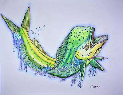 Marine Life Drawing - Jumping Mahi by Edward Johnston
