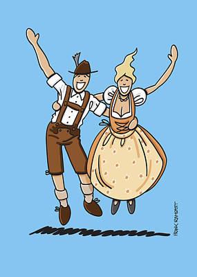 Jumping Oktoberfest Lovers Art Print by Frank Ramspott