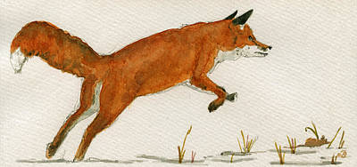 Fox Painting - Jumping Red Fox by Juan  Bosco