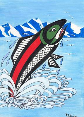 Salmon Painting - Jumping Silver Salmon by Bob Patterson