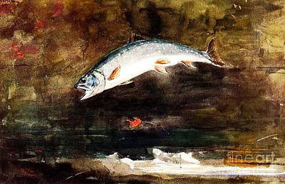 Fauna Painting - Jumping Trout by Pg Reproductions