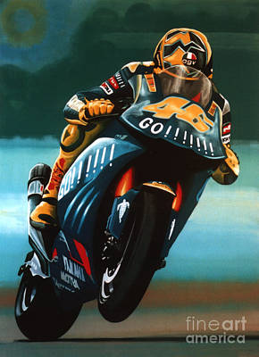 Jumping Valentino Rossi  Art Print by Paul Meijering