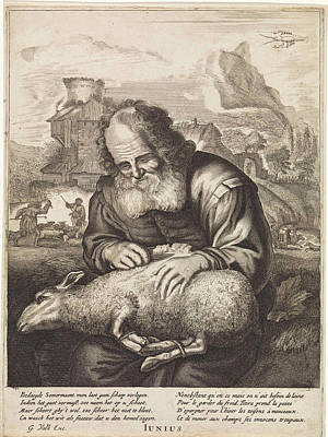 June A Shepherd Shears A Sheep, Print Maker Anonymous Art Print by Anonymous And Jonas Suyderhoef And Joachim Von Sandrart