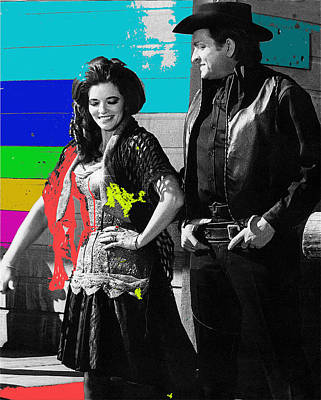Art Print featuring the photograph June Carter Cash Johnny Cash In Costume Old Tucson Az 1971-2008 by David Lee Guss