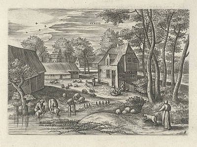 Farm Scene Drawing - June, Julius Goltzius, Gillis Mostaert by Julius Goltzius And Gillis Mostaert (i) And Claes Jansz. Visscher (ii)