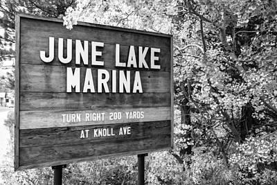 Photograph - June Lake Marina Sign by Priya Ghose
