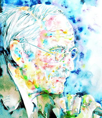 Carl Gustav Jung Painting - Jung - Watercolor Portrait.1 by Fabrizio Cassetta