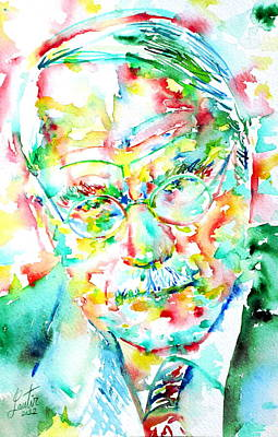 Carl Gustav Jung Painting - Jung - Watercolor Portrait.2 by Fabrizio Cassetta