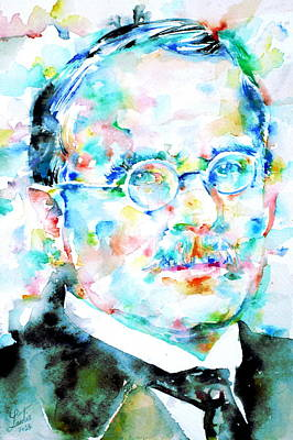 Carl Gustav Jung Painting - Jung - Watercolor Portrait.3 by Fabrizio Cassetta