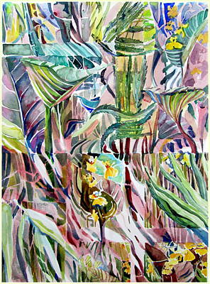 Rain Drawing - Jungle Abstract by Mindy Newman